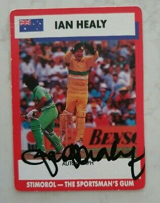 AU11.25 • Buy Ian Healy Cricket Signed In Person Stimorol Card  Buy Genuine