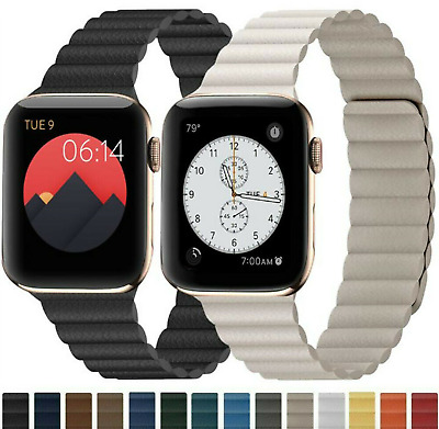 $ CDN11.43 • Buy For Apple Watch Series 6 5 4 3 SE Leather Magnetic Strap Replacement Loop Band