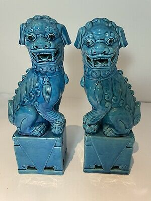 Vintage Chinese Porcelain Turuoise Foo Dogs Circa 1940 • 280£