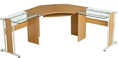 Large  Oak Coloured Computer Office Corner Desk with Glass Wings • 90£