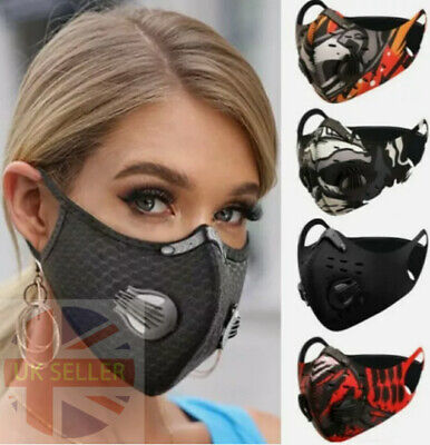 Face Mask Washable Reusable Anti Pollution PM2.5 Two Air Vent With Filter UK • 4.99£