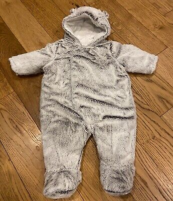 0-3 Months Baby Grey Padded Fluffy Furry Snowsuit Pramsuit Worn Once • 5£