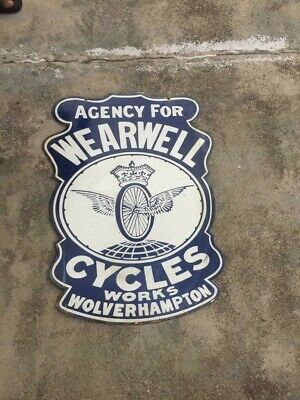 $ CDN22.33 • Buy Porcelain Agency For Wearwell Cycles Enamel Sign 22  X 29.5  Inches 2 Sided