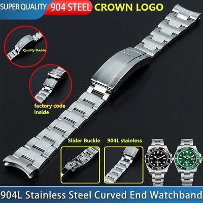$ CDN388.27 • Buy 20 Mm 904L Steel Curved End Watch Band Fit For Rolex Submariner Bracelet