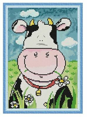 FUNNY COW COUNTED CROSS STITCH KIT 14 COUNT AIDA FINISHED SIZE 21x31CM • 8.99£