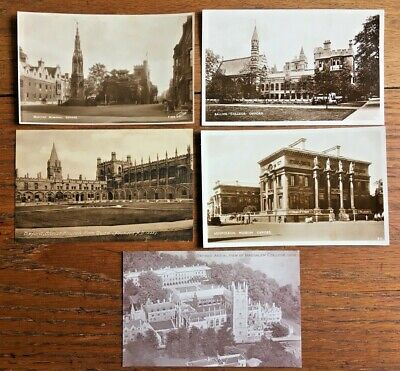 5 VINTAGE POSTCARDS C1930 Oxford Colleges - Including Frith & Walter Scott • 4.95£