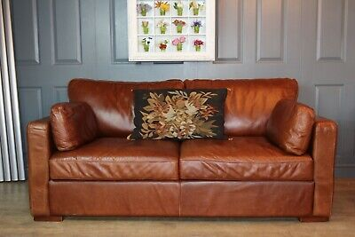 Halo Antiqued Brown Aniline Leather Sofa • 790£
