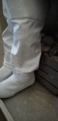 New Knee High Boots - 60's 70's Go Go Fashion Boots White Patent - Size 3 UK  • 10£