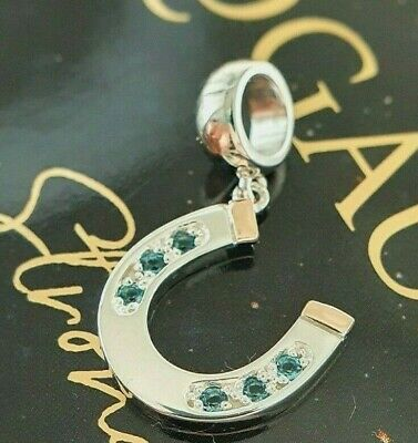 Clogau Gold Sterling Silver & 9ct Rose Gold Horseshoe Blue Topaz Bead Charm £99 • 63.95£