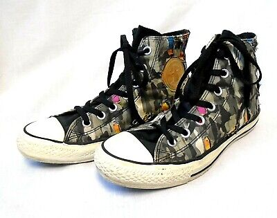 Converse All Star High Top Trainers UK Size 6, Torn Camouflage Colourful Design • 9.99£