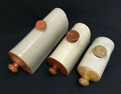 3 Antique Stone Ware Hot Water Bottles, 1, 1.5 And 2 Pint Sizes Approx • 9.99£