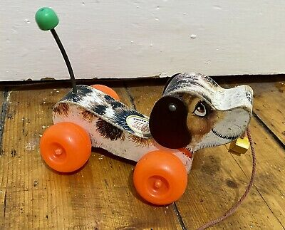 Fisher Price 1960's Little Snoopy Dog Pull Along Children's Toy England Made • 17.49£