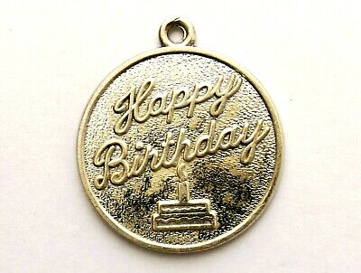 Happy Birthday Sterling Silver Circular Charm Or Pendant By Rembrandt • 4.99£