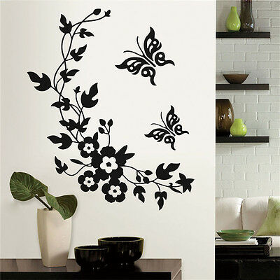 Home Butterfly Flower Toilet Bathroom Wall Seat Stickers Art Animal Decal DIY WF • 4.61£