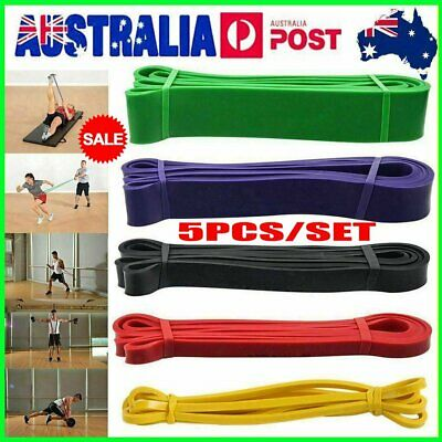 AU24.96 • Buy Set Of 5 Heavy Duty Resistance Band Loop Power Gym Fitness Exercise Yoga Work AA