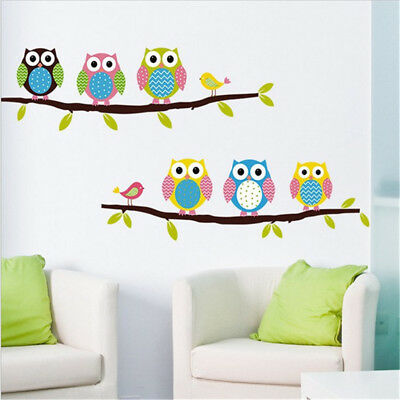 Owl Tree Wall Stickers For Living Wall Decal Children Sticker WF • 6.39£