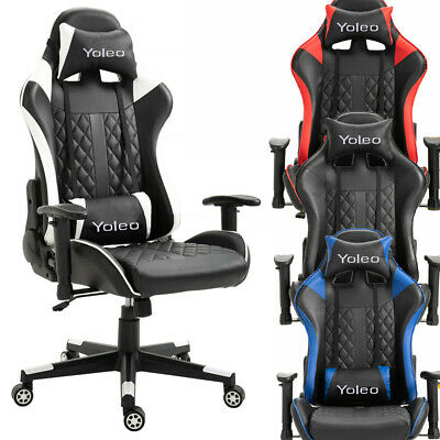 Office Racing Gaming Chair Lift Swivel Computer Desk Recliner W/ PU Leather Seat • 105.02£