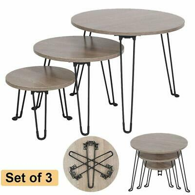 Set Of 3 Round Nesting Tables Side Coffee Table Living Room Folding Metal Legs • 42.89£