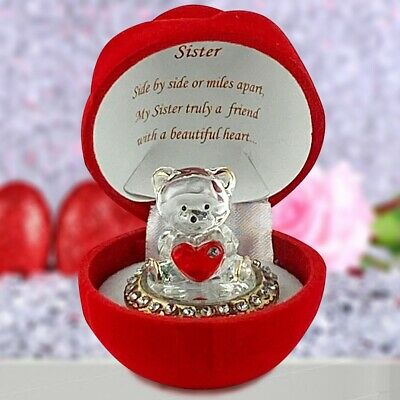 Glass Teddy Bear In Red Rose For Sister Birthday Engagement Christmas Present  • 8.99£