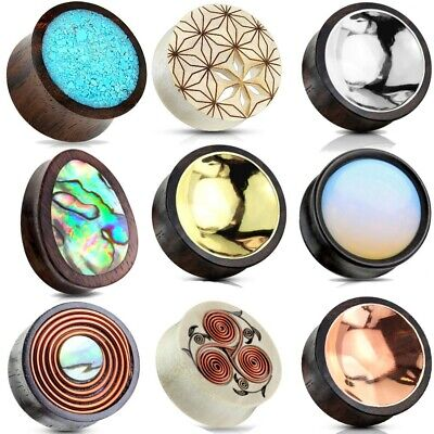 $9.99 • Buy Ear Gauges Stretched Ear Plugs Organic Wood Flesh Tunnels USA Pairs