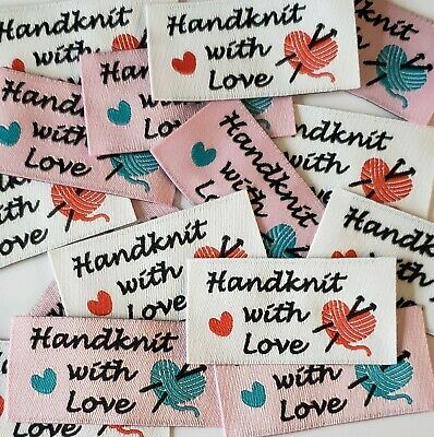 Woven 'Handknit With Love' Garment Labels 25x50mm, Pack Of 10 • 3.30£