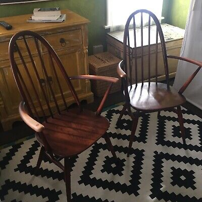 Pair Of Vintage ERCOL Armchairs Original Early Elm Chairs • 329£