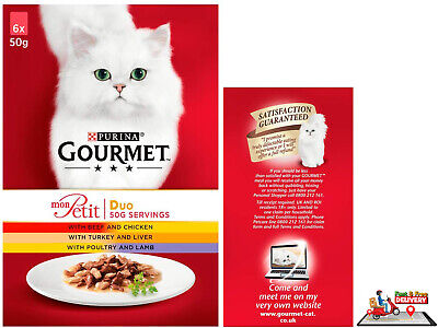 Gourmet Mon Petit Cat Food Pouches Duo Meat 6 X 50g New • 2.35£