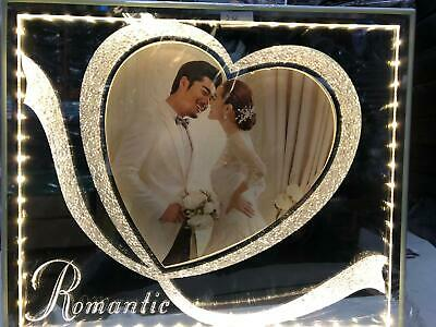 Glass Photo Frame Valentine/Mothers Day Heart Romantic Cute Anniversary Gifts UK • 20.99£