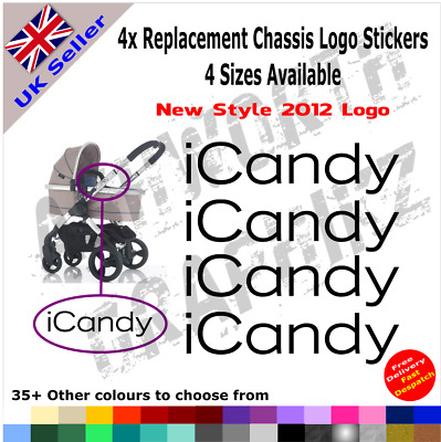 4x New 2012 ICandy Replacement Logo Stickers Pushchair Pram Stroller 35+ Colours • 2.59£