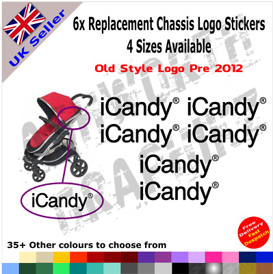 6x ICandy Replacement Logo Stickers Old Style Pre 2012 Pushchair Pram Stroller • 3.25£