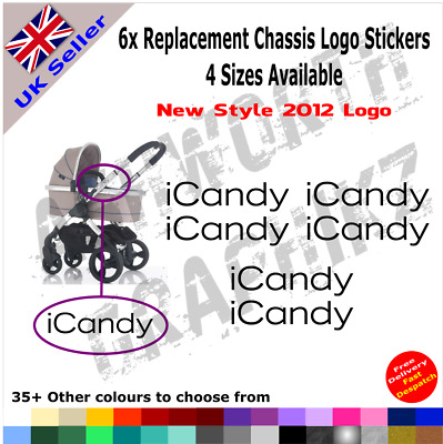 6x New 2012 ICandy Replacement Logo Stickers Pushchair Pram Stroller 35+ Colours • 3.35£