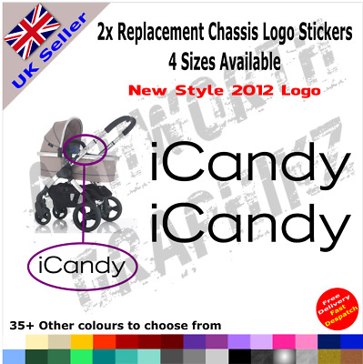 2x New 2012 ICandy Replacement Logo Stickers Pushchair Pram Stroller 35+ Colours • 1.59£