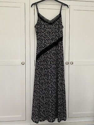 Topshop Maxi Ditsy Floral Cami Dress Black Lace Size 12 Vintage Style Worn Once • 2.80£