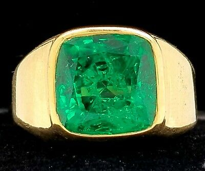 $14500 • Buy Gorgeous 18k Yellow Gold Mens Ring Gem  Green Colombian Emerald 10.55ct.