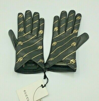 £197.07 • Buy Gucci Women Leather Gloves Nappa SERIGR.RIGHE GG ORO Black/Gold Unlined Size 8