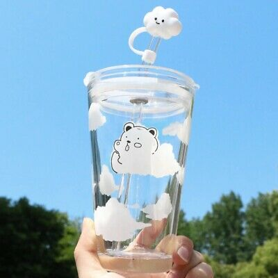 480ml Glass Water Bottle With Straw Lid Cartoon Clouds Transparent Cup Leakproof • 13.57£