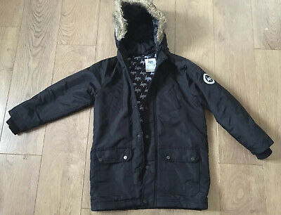 HYPE BOYS/KIDS BLACK PARKER STYLE WINTER COAT Age 9-10 With Hood Exc Condition • 7.50£