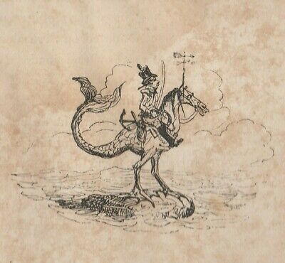 1826 Etching By George Cruikshank ~ ' Flying Artillery Or A Horse Marine' • 10£
