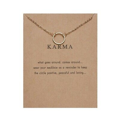 £2.99 • Buy Karma Necklace Make A Wish Card Gift Gold Colour Fast Postage UK Mothers Day