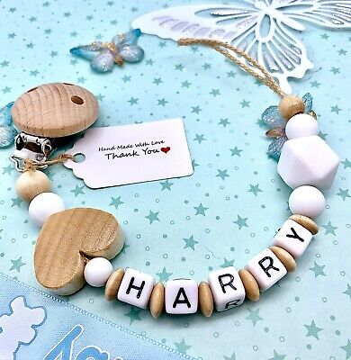 £7.75 • Buy Personalised Baby Dummy Clip Silicone Wooden Pacifier Chain Baby Shower Gift