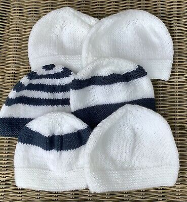 Bunch Of 6 New Hand Knitted Newborn Baby Hats • 3£