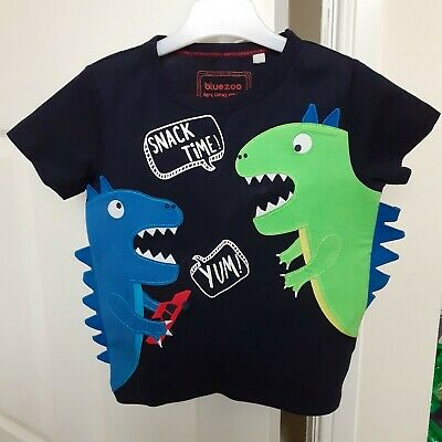 Boys Short Sleeve Tee Shirt With Dinosaur From Debenhams Blue Zoo Age 2-3 Years • 5£
