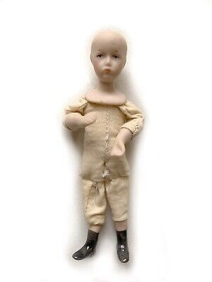 "$ CDN12.62 • Buy Vintage Miniature Dollhouse Doll Porcelain 4 1/8"" Tall Cloth Body Poseable RU12"