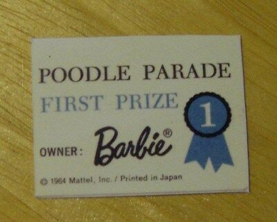 $ CDN7.64 • Buy Vintage Barbie Doll Poodle Parade #1643 REPRODUCTION Award Certificate Only NM