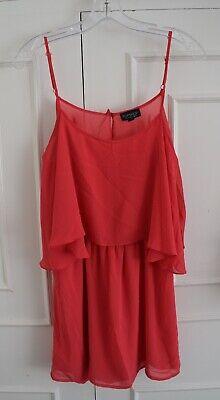 TOPSHOP Coral Pink Cami Strappy Mini Dress Size 12 Cut Out Back  • 1£