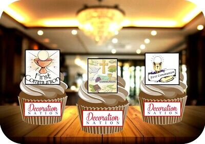 1st Holy Communion Mix 12 Edible STANDUP Cake Toppers Decoration Christening Fun • 2.99£