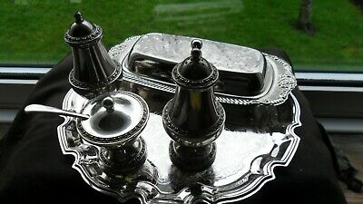 Lovely Selection Of Silver-plated Tableware: Cruet Set, Butter Dish, And Tray. • 7.80£