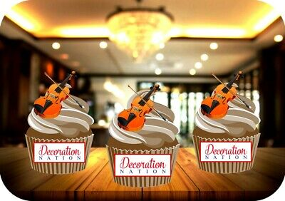 £2.99 • Buy Violin 12 Edible STANDUP Cake Toppers Decoration Birthday Music Instrument Notes