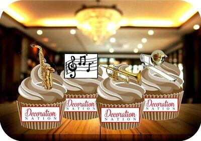 £2.99 • Buy Brass Musical Instrument And Notes 12 Edible STANDUP Cake Toppers Decoration Fun