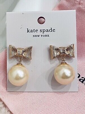 $ CDN56.83 • Buy NWT Kate Spade All Wrapped Bow Dangle Pearl Earrings Statement Rose Gold Drop